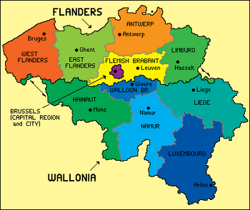 Belgium is composed of the 5 northern -speaking provinces of , the 5 southern -speaking provinces of  and the .