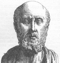 "Hippocrates: a conventionalized image in a Roman ""portrait"" bust (19th century engraving)"