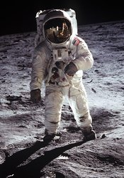 Buzz walks on the surface of the Moon during Apollo 11.